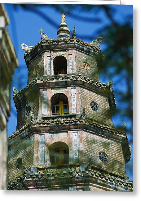 Indochinese Architecture And Art Greeting Cards - The Top Three Stories Of A Pagoda Greeting Card by Steve Raymer