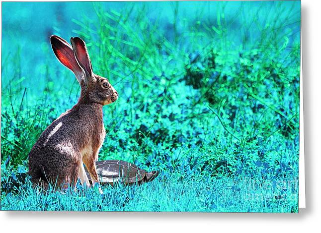 Chinese New Year Greeting Cards - The Tortoise and the Hare . Cyan Greeting Card by Wingsdomain Art and Photography
