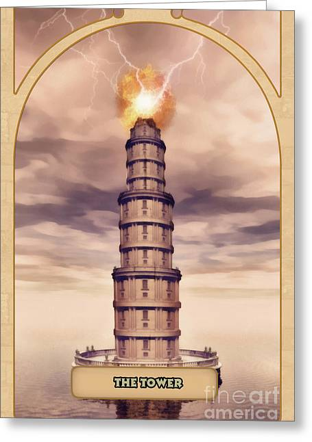 Spiritual Drawings Greeting Cards - The Tower Greeting Card by John Edwards