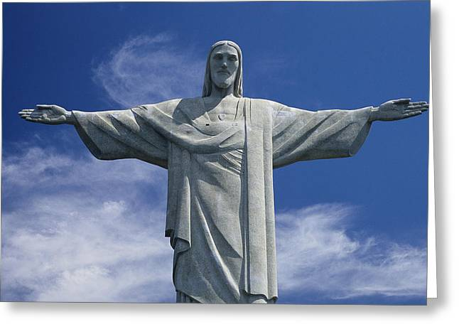 Characters And Scenes In History And The Arts Greeting Cards - The Towering Statue Of Christ Greeting Card by Richard Nowitz