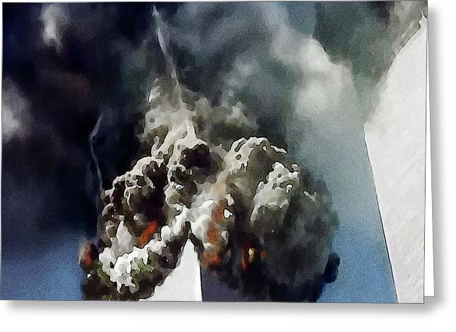 Hijacker Greeting Cards - The Towers Collapse Greeting Card by Jann Paxton