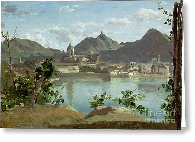 Italian Landscapes Greeting Cards - The Town and Lake Como Greeting Card by Jean Baptiste Camille Corot