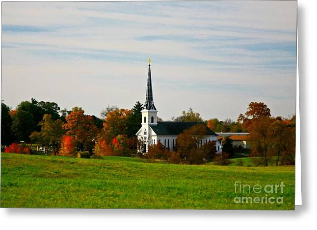 Blue Green Water Mixed Media Greeting Cards - The town church Greeting Card by Robert Pearson