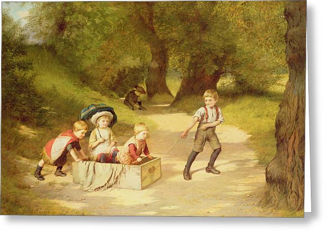 Playing Car Greeting Cards - The Toy Carriage Greeting Card by Harry Brooker