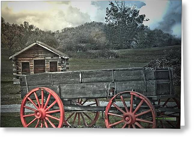 Wagon Wheels Mixed Media Greeting Cards - The Trading Post - Tennessee Greeting Card by Deborah