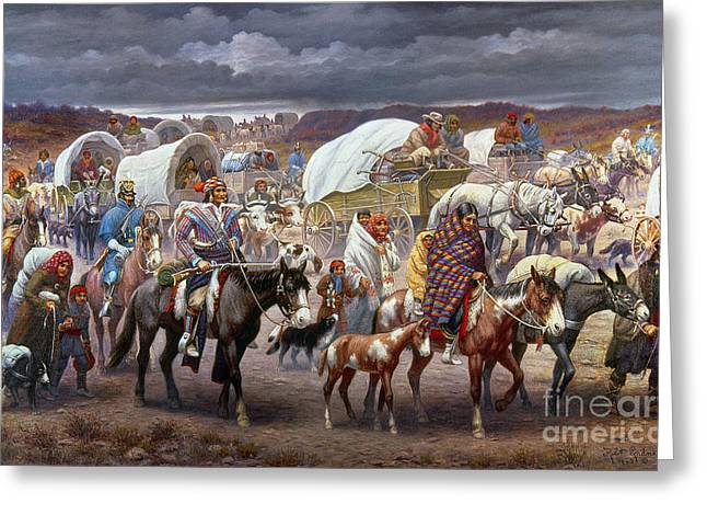 Torn Paintings Greeting Cards - The Trail Of Tears Greeting Card by Granger