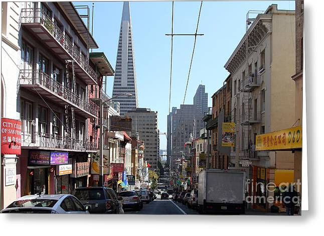 Grant Street Greeting Cards - The Transamerica Pyramid Through Chinatown San Francisco Greeting Card by Wingsdomain Art and Photography
