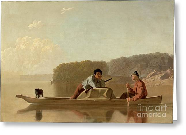 Canoe Greeting Cards - The Trappers Return Greeting Card by George Caleb Bingham