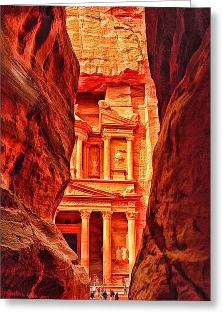Petra - Jordan Digital Greeting Cards - The Treasury at Petra Jordan Greeting Card by Dale Halbur
