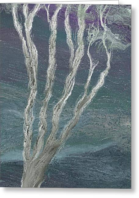 Light And Dark Greeting Cards - The Tree and the Moon - A Greeting Card by Linda Cornelius