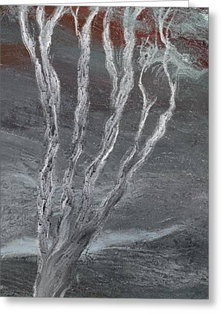 Light And Dark Greeting Cards - The Tree and the Moon - B Greeting Card by Linda Cornelius