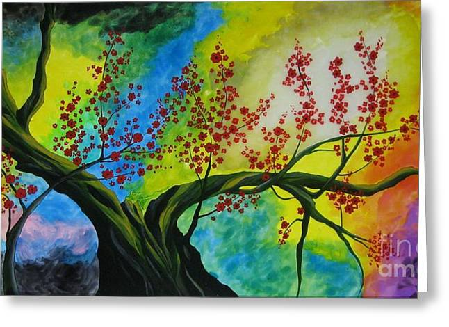Japan Glass Art Greeting Cards - The tree Greeting Card by Betta Artusi