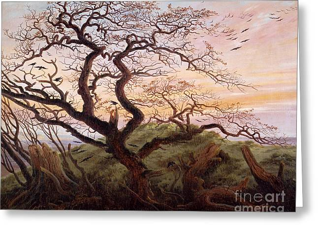Canvas Crows Greeting Cards - The Tree of Crows Greeting Card by Caspar David Friedrich