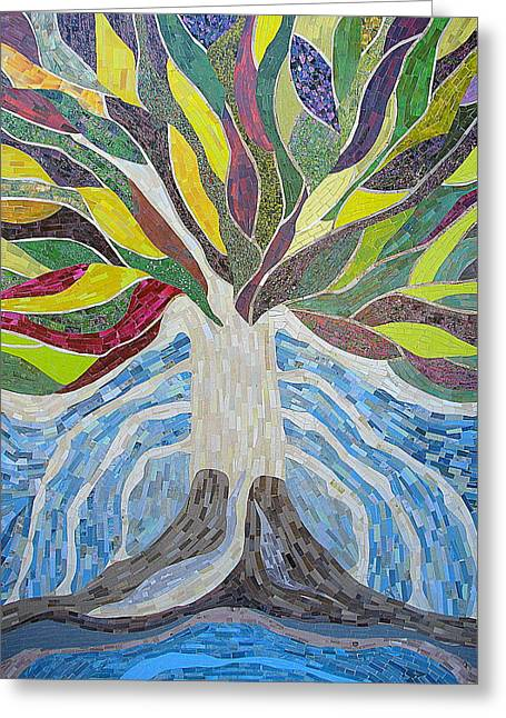 Religious Mosaic Mixed Media Greeting Cards - The Tree of Life Greeting Card by Claudia French