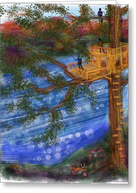 Treehouse Greeting Cards - The Treehouse Greeting Card by Russell Pierce