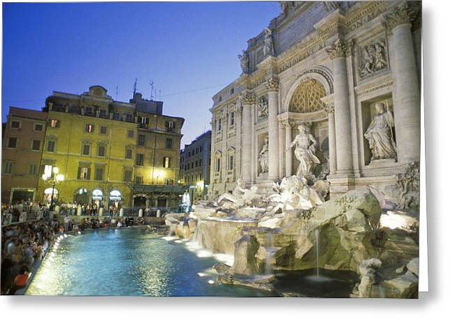 Italian Culture.italian Renaissance Greeting Cards - The Trevi Fountain And Palazzo Poli Greeting Card by Richard Nowitz
