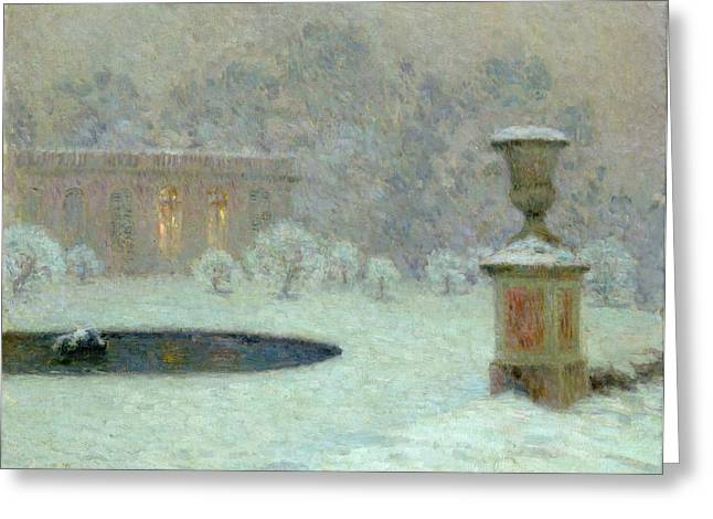 Garden Scene Greeting Cards - The Trianon Under Snow Greeting Card by Henri Eugene Augustin Le Sidaner
