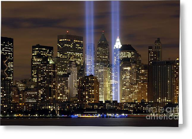 Laser Beam Greeting Cards - The Tribute In Light Memorial Greeting Card by Stocktrek Images