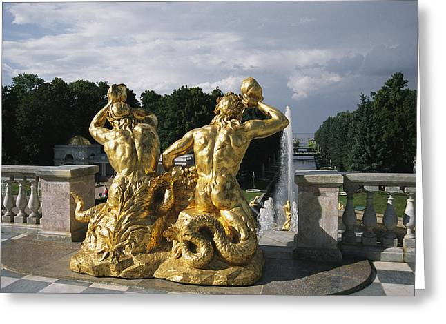 Greek Sculpture Greeting Cards - The Triton Fountain At The Peterhof Greeting Card by Sisse Brimberg