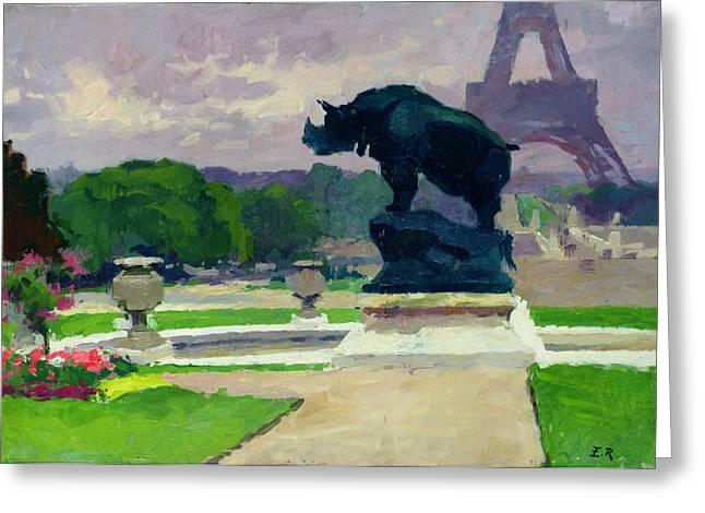 Rhinoceros Greeting Cards - The Trocadero Gardens and the Rhinoceros Greeting Card by Jules Ernest Renoux