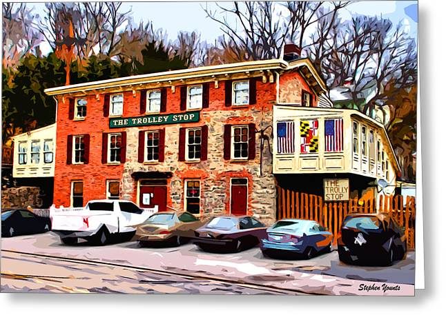 Ellicott Greeting Cards - The Trolley Stop Greeting Card by Stephen Younts