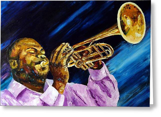 Trumpetist Greeting Cards - The trumpet player Greeting Card by Jean-Marc JANIACZYK