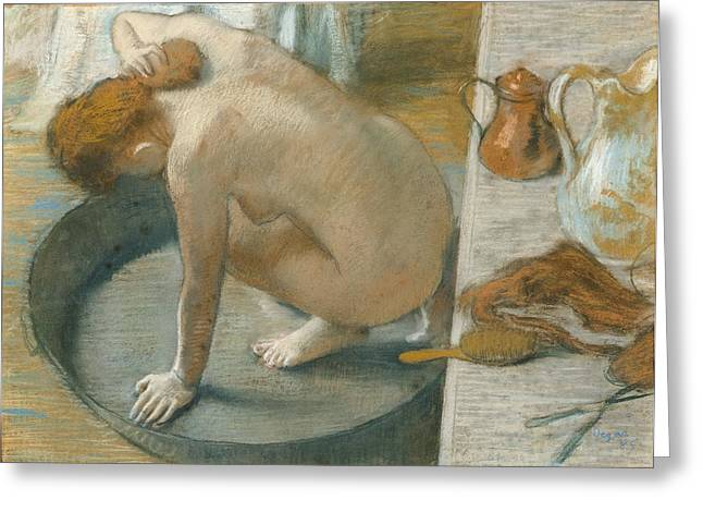 Edgar Pastels Greeting Cards - The Tub Greeting Card by Edgar Degas
