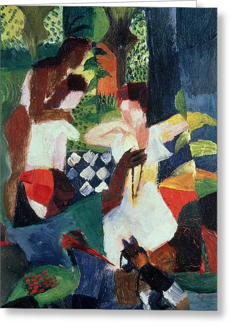 Patterned Paintings Greeting Cards - The Turkish Jeweller  Greeting Card by August Macke