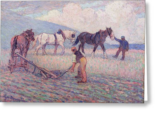 Bevan Robert Polhill 1865-1925 Greeting Cards - The Turn - Rice Plough Greeting Card by Robert Polhill Bevan