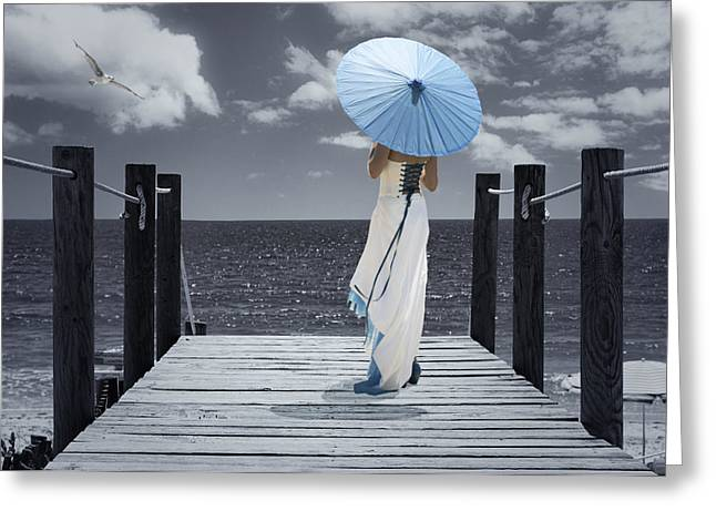 Seagul Greeting Cards - The Turquoise Parasol Greeting Card by Amanda And Christopher Elwell