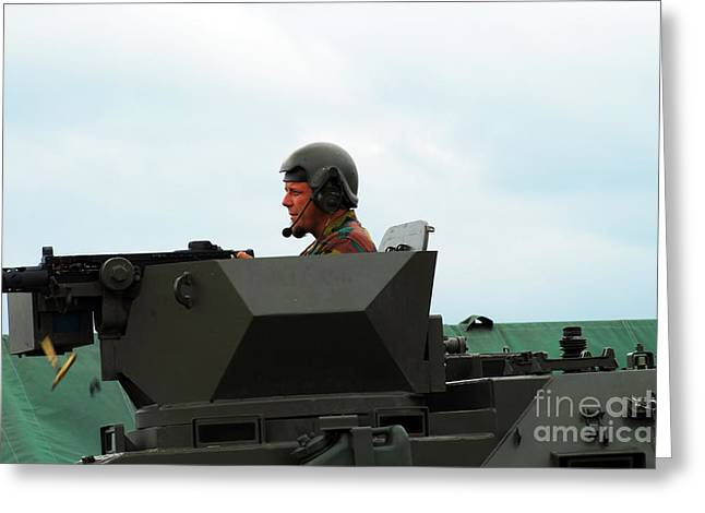 The Turret Of A Pandur Wheeled Armoured Greeting Card by Luc De Jaeger