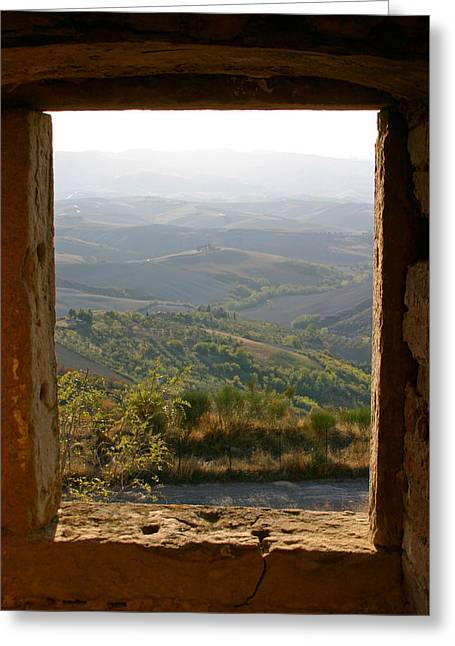 Tuscan Sunset Greeting Cards - The Tuscan Plain from Ruined Monastery in Volterra Greeting Card by Mathew Lodge