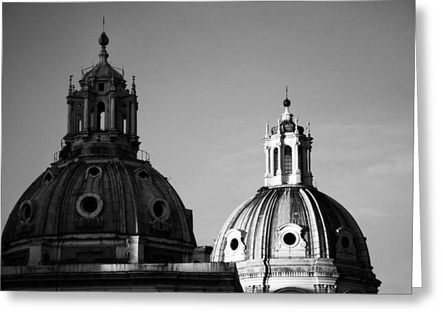 Cupola Photographs Greeting Cards - The twin domes of S. Maria di Loreto and SS. Nome di Maria Greeting Card by Fabrizio Troiani