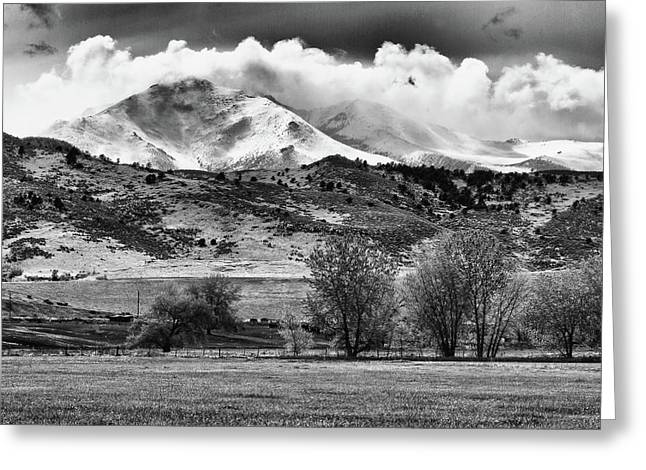 Black White Photography Prints Greeting Cards - The Twin Peaks - Mt Meeker and Longs Peak Hang-in BW Greeting Card by James BO  Insogna