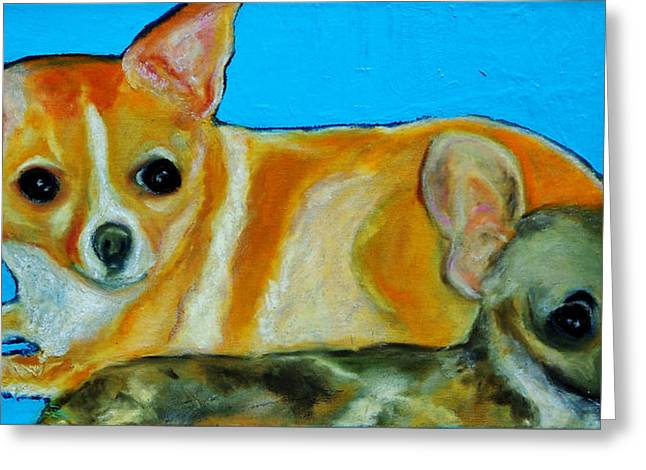 Print On Acrylic Pastels Greeting Cards - The Two Amigos Greeting Card by Laura  Grisham