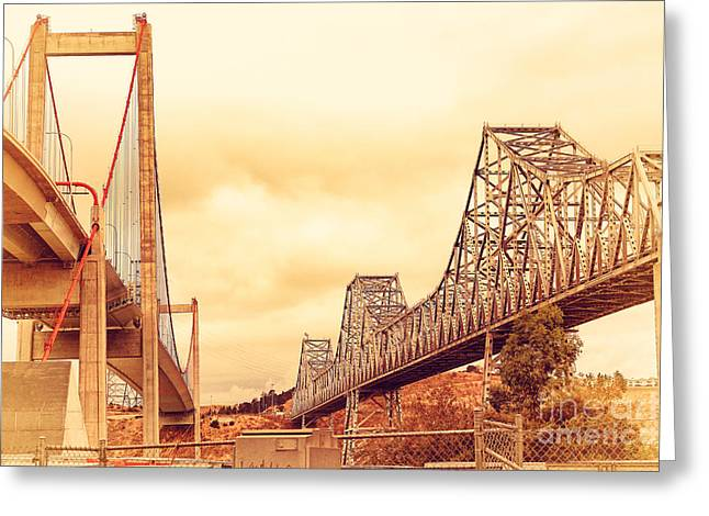 The Two Carquinez Bridges At Crockett And Vallejo California . Aka Alfred Zampa Memorial Bridge . 7d8830 Greeting Card by Wingsdomain Art and Photography