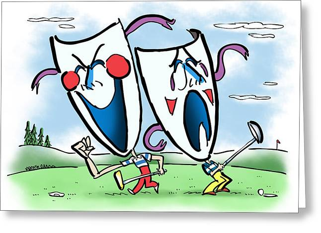 The Two Faces Of Golf Greeting Card by Mark Armstrong