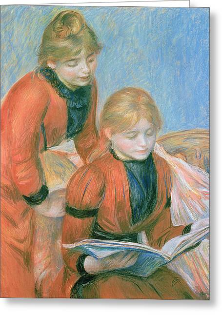 Red Dress Greeting Cards - The Two Sisters Greeting Card by Pierre Auguste Renoir