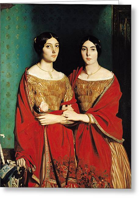 1843 Greeting Cards - The Two Sisters Greeting Card by Theodore Chasseriau