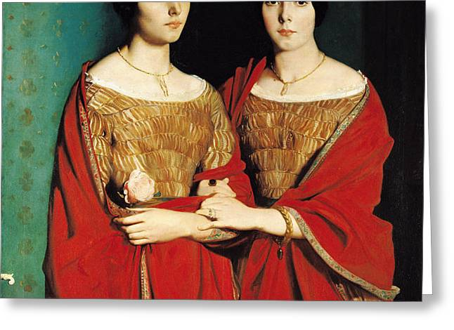 The Two Sisters Greeting Card by Theodore Chasseriau
