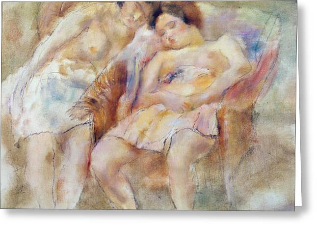 Undressed Pastels Greeting Cards - The Two Sleepers Greeting Card by Jules Pascin
