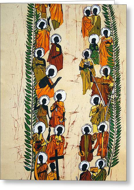 Martyrs Tapestries - Textiles Greeting Cards - The Uganda Martyrs Greeting Card by Joseph Kalinda