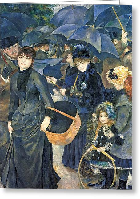 Umbrella Greeting Cards - The Umbrellas Greeting Card by Pierre Auguste Renoir