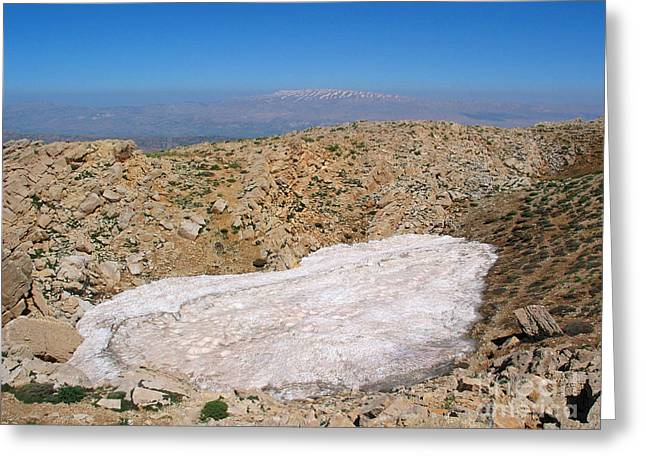 Issam Hajjar Greeting Cards - the un melted snow in Sannir mountains  Greeting Card by Issam Hajjar