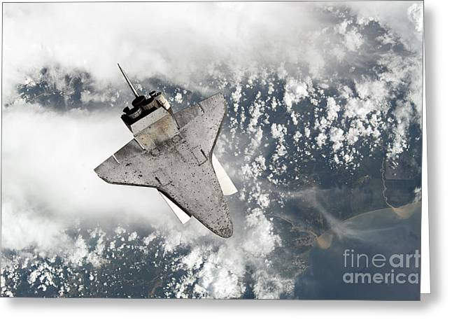 Docking Greeting Cards - The Underside Of Space Shuttle Greeting Card by Stocktrek Images