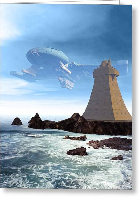 Spaceship Digital Art Greeting Cards - The Unguided Greeting Card by Michael Knight
