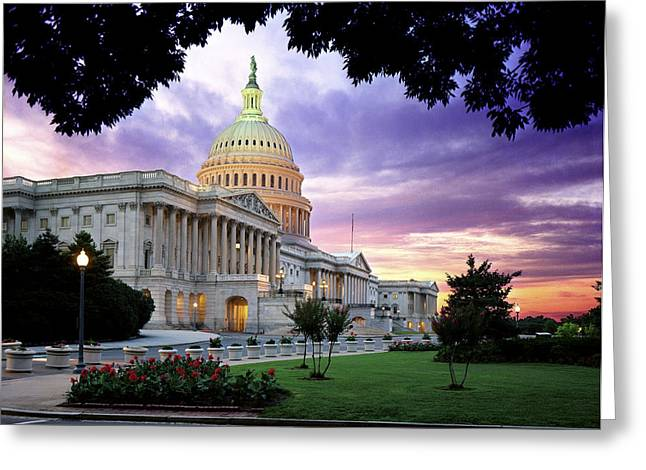 Streetlight Greeting Cards - The United States Capitol Greeting Card by Rex A. Stucky