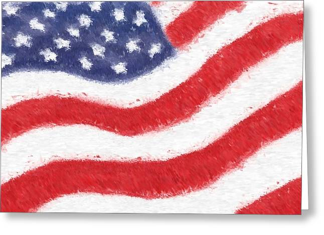 Recently Sold -  - Star Glass Art Greeting Cards - The United States Flag Greeting Card by Heidi Smith