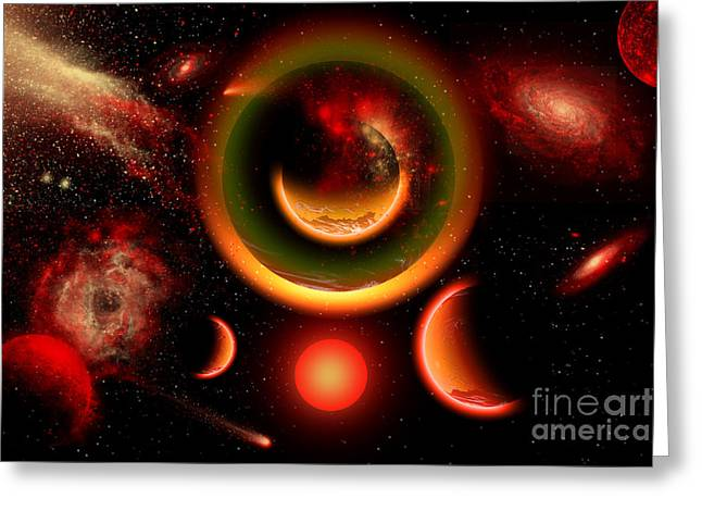 Luminous Globe Greeting Cards - The Universe Is A Place Of Intense Greeting Card by Mark Stevenson