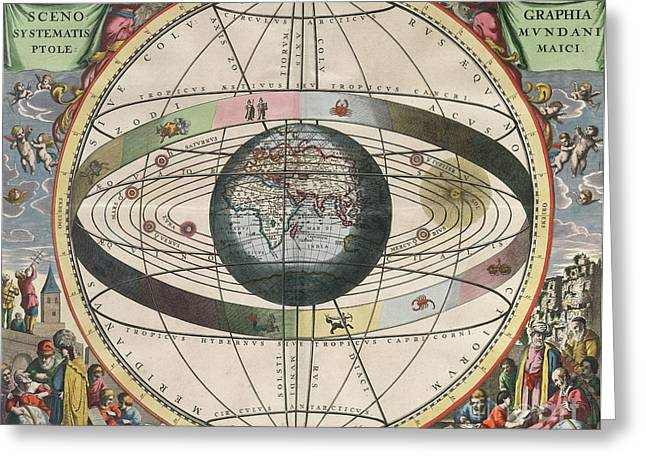 Star Chart Greeting Cards - The Universe Of Ptolemy Harmonia Greeting Card by Science Source